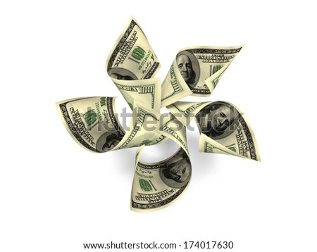 Money Flower. One Hundred Dollar Notes ($100) Blossoming Into A Beautiful Arrangement Of High Denomination Petals. Five Petals Over White Background With Slight Shadowing.  - stock photo