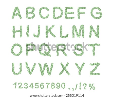 Money font. Letter from dollar. Alphabet of money. The font of dollars.