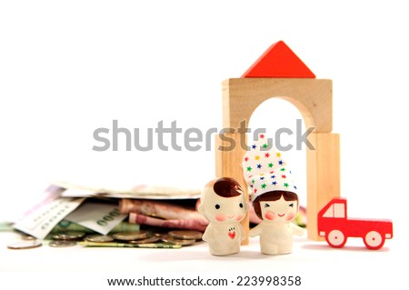 Money for family, house and car - stock photo