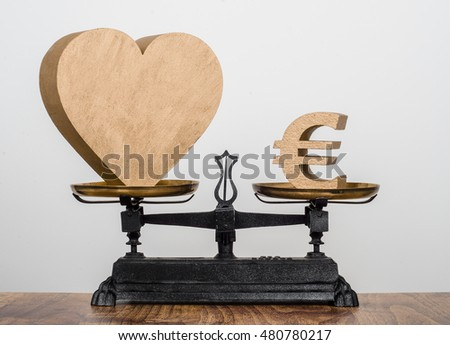 Money for Love. A heart and a Euro sign on antique balance scales.