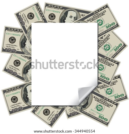 Money frames this blank page with space for your text - stock photo