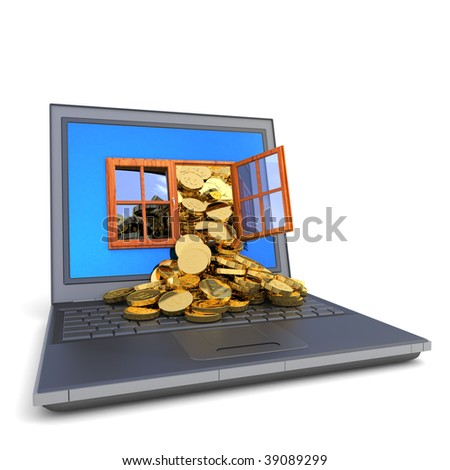 Money from computer. Hi-res digitally generated image. - stock photo