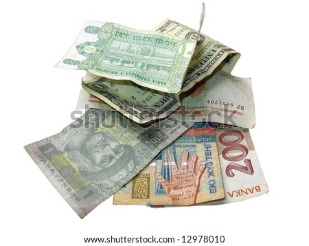 Money from different countryes over white background