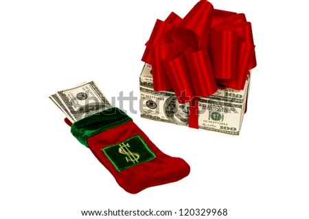 Money Gift Box and Money in a Stocking