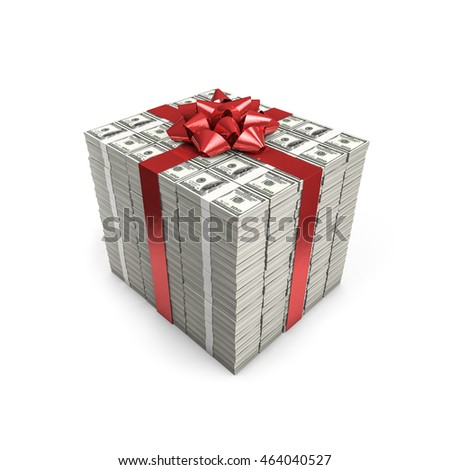 Money gift dollars / 3D illustration of stacks of hundred dollar bills tied with ribbon