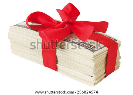 Money gift. Money bonus. Stack with money with red bow isolated on white background  - stock photo