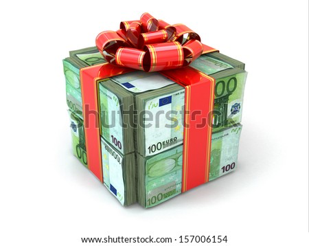 Money gift. Pack of euros and red ribbon. 3d