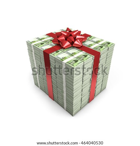 Money gift South Korean won / 3D illustration of stacks of South Korean ten thousand won notes tied with ribbon