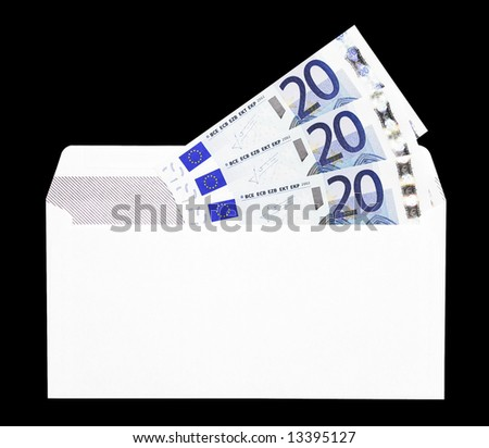 Money Gift, White Envelope With Twenty Euro Notes