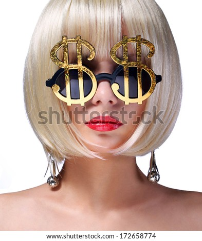 Money Girl. Fashion Blonde Model with Gold Sunglasses shaped in Dollar Sign. Glamorous young woman with short bob hairstyle isolated on white. Finance Concept.  - stock photo