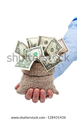 Money given to you as a gift or grant - dollars in moneybag