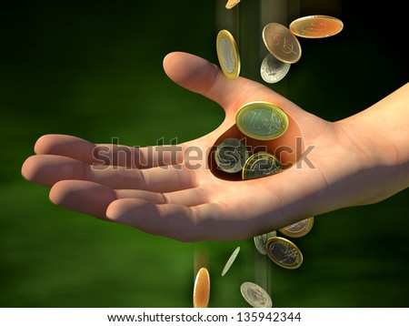 Money going through an hole in a man's hand. Digital illustration. - stock photo