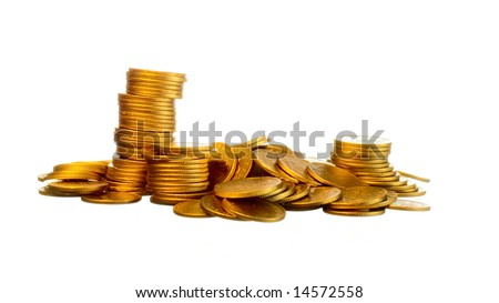 Money, gold coins isolated on white background - stock photo