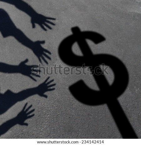 Money grab and human greed concept as cast shadows on pavement of a group of hands reaching for a dollar sign as a symbol of consumer and investor demand or an icon for paying taxes. - stock photo