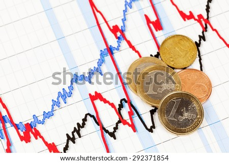 Money graph and Euro coins - stock photo