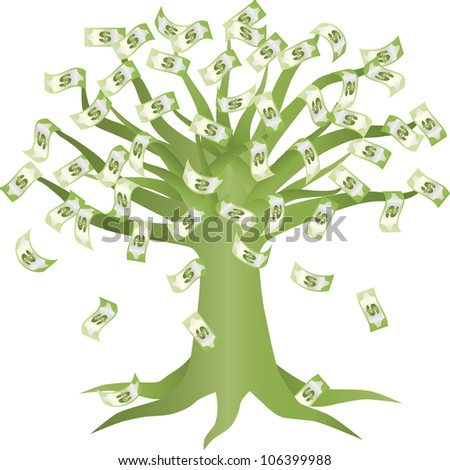 Money Growing on Green Tree Illustration Isolated on White Background Raster Vector - stock photo