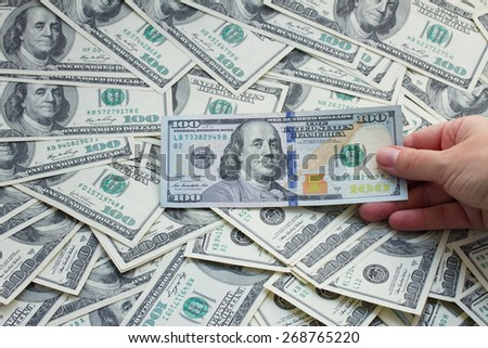 money - hand holding american 100 dollar banknotes  background