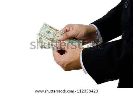 Money ,Hand holding US dollars isolated on white background