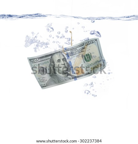 Money Hanging on a Fishing Hook - stock photo