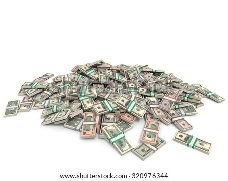 Money heap. Different dollar bank notes.3D illustration.