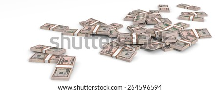 Money heap on white background. Fifty dollars. 3D illustration.