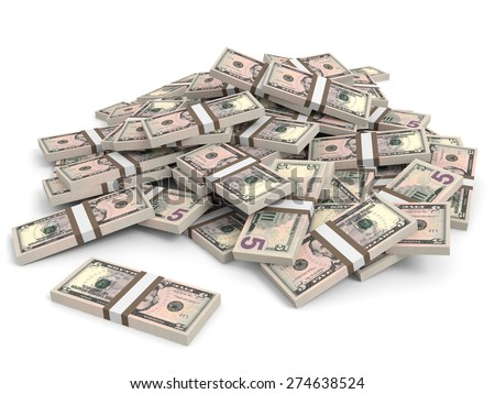 Money heap on white background. Five dollars. 3D illustration.