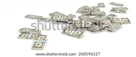 Money heap on white background. One dollar. 3D illustration.