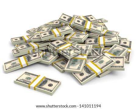Money heap on white background. One hundred dollars. 3D illustration. - stock photo