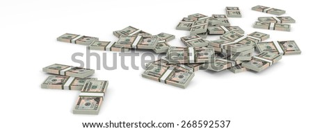 Money heap on white background. Twenty dollars. 3D illustration.