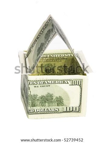 Money house isolated on white background close-up - stock photo