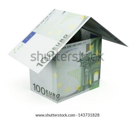 Money house on the white background - stock photo