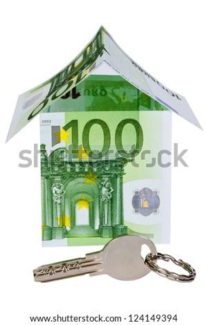 Money house with key - stock photo