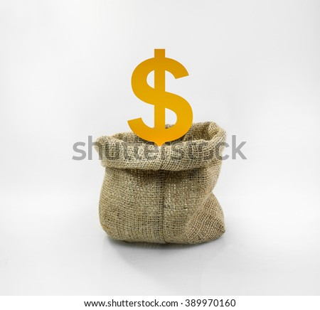 Money icon in the sack bag on white background.For financial or saving concept - stock photo