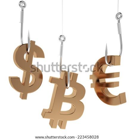 Money icon on fish hooks isolated on white background. - stock photo