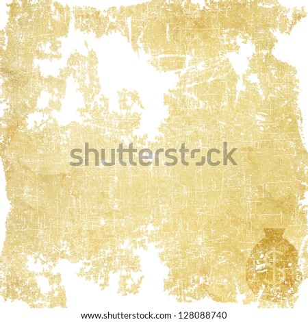 Money icon on old paper background - stock photo