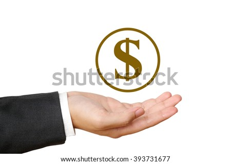 Money icon over businessman hand on white background, business and financial concept