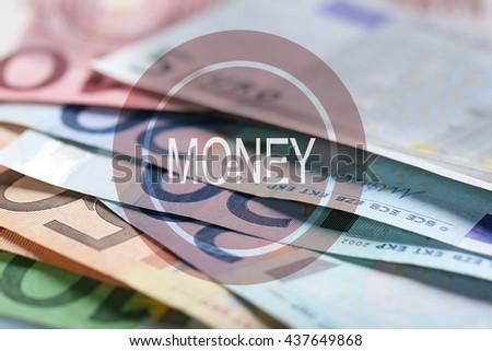 Money icon. Set of different euro banknotes, background - stock photo