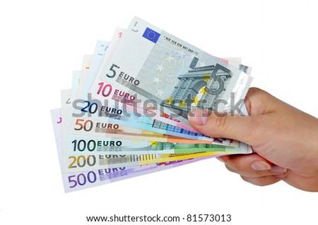 Money ih the hand  on white Background. - stock photo