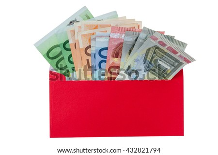Money in a bright red envelope, isolated on white background, have clipping path.