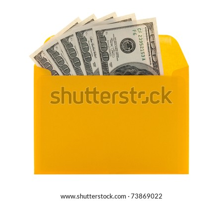 Money in a bright yellow envelope, isolated on white background. - stock photo