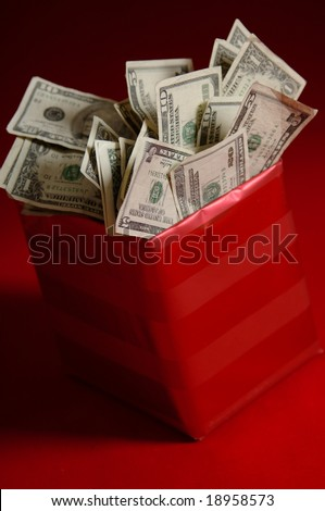 money in a gift box