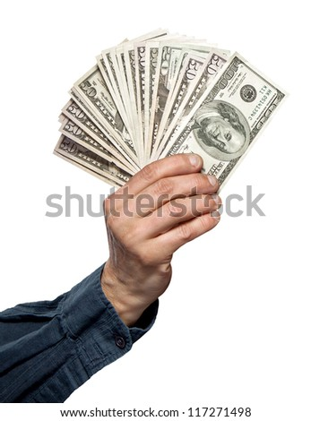money in a hand isolated on white - stock photo