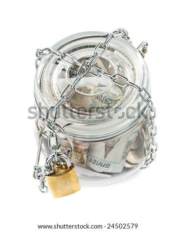 Money in a pot. Home banking concept.