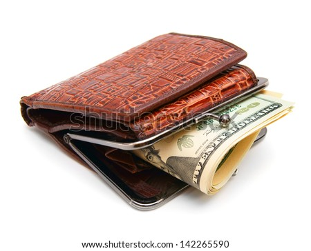 Money in a purse on a white background.