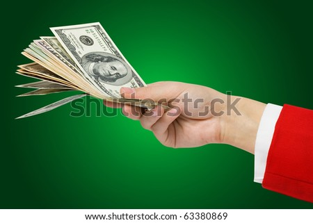 Money in a woman's hand