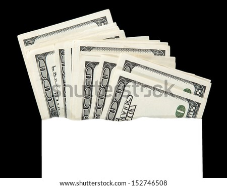 money in an envelope, abstract close-up - stock photo