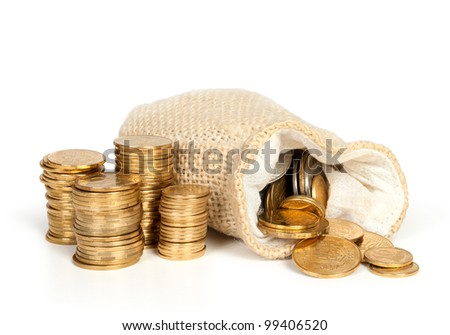 Money  in bag and stack of coins isolated on white