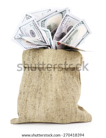 Money in bag isolated on white - stock photo