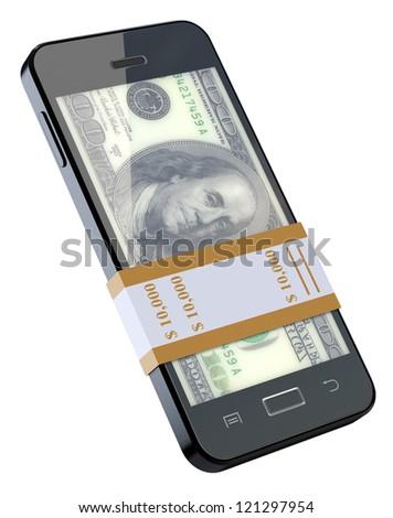 Money in black mobile phone - stock photo