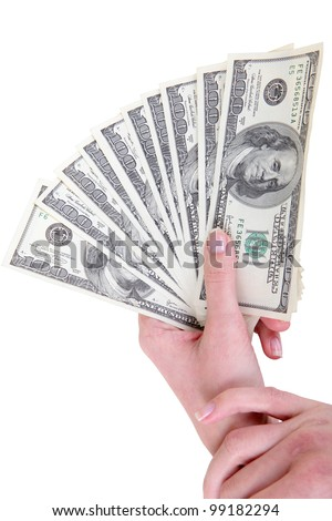money in dollars in female hand - stock photo